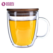 Double-wall 16 oz Borosilicate Glass Mug Cup Tea Cup With Bamboo Lid