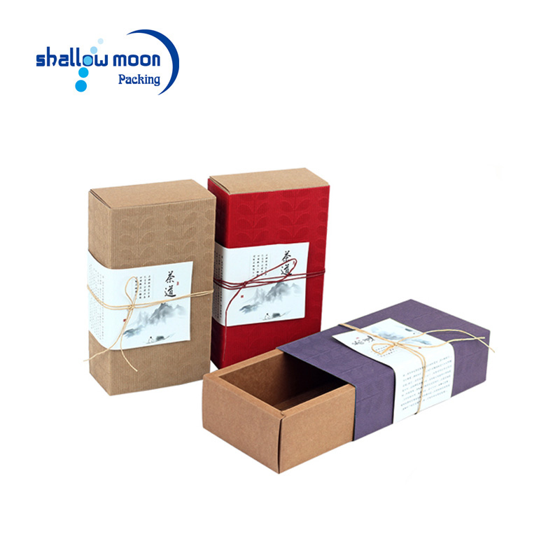Custom new products colorful outer case sliding drawer gift boxes packaging brown kraft paper Chinese tea cardboard box
