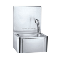 Wall hanging wash hand basin stainless steel knee operated sink