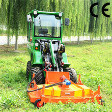 Cheap loawn tractor with mini front end loader, 4 wheel drive, hydraulic wheel motor achieves stepless speed change