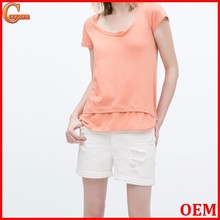 New style short sleeve round neck combined hem stringer tank top wholesale