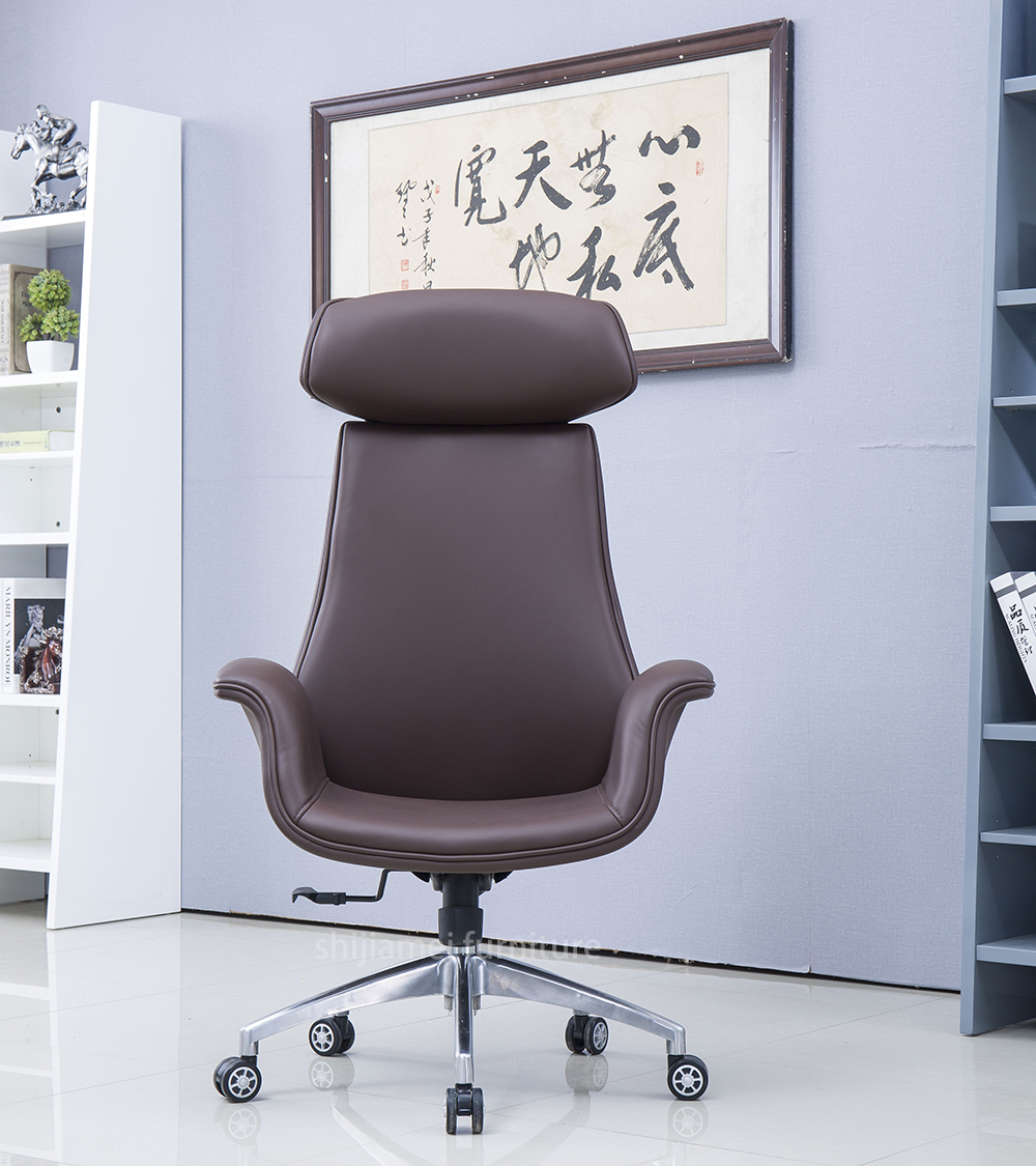 Fashional Metallic Appearance Executive Office Chair With Aluminum Alloy 5 Star Base