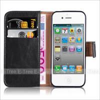 Premium Leather Wallet Folio Cover Case For iPhone 4 4s