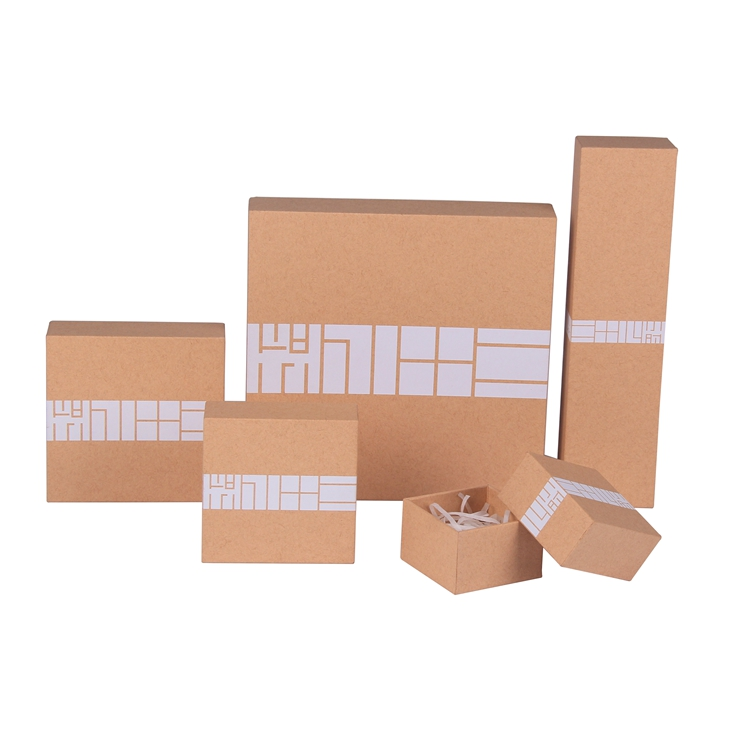 Hot new natural kraft cardboard paper 2 piece rigid packaging gift box