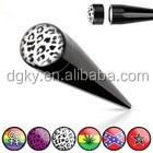 Black Acrylic Magnetic Snap-On Logo Fake Tapers Ear Taper Stretcher