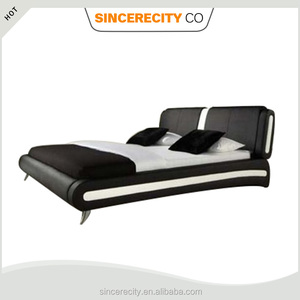 Modern Bedroom Italian design furniture, PU PVC Faux leather Upholstered bed