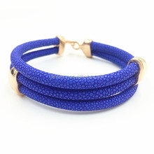 Blue Stingray Leather Bracelets Chains Jewelry With Rose Gold Stainless Steel Clasps Mens Jewelry 2016