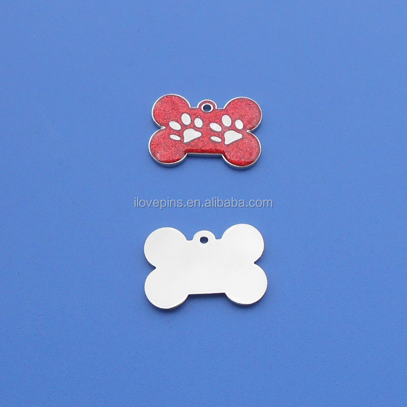2016 Hot Selling Bone Shape Glitter Two Paw Logo Dog Tags/Pet Id Tags