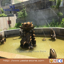 Yellow granite fish sculpture pond stone fountain in stock