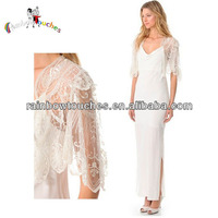 2014 Beautiful Maxi White Evening Dresses With Sleeves