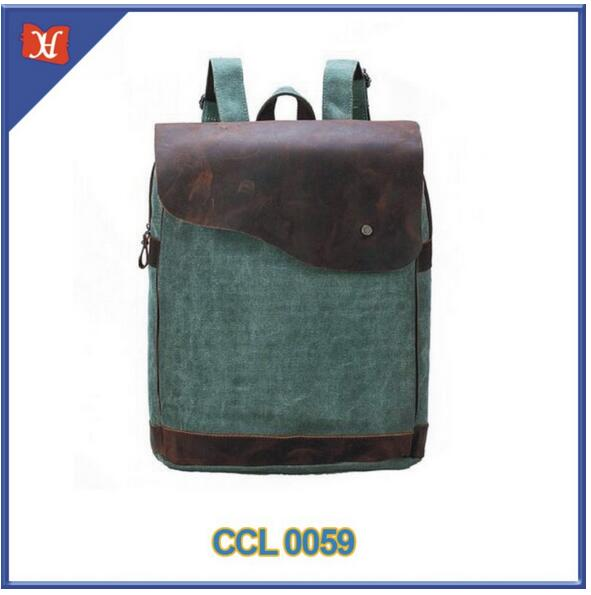Genuine Leather Canvas Laptop Shoulder Bag Rucksack Pad bag Backpack