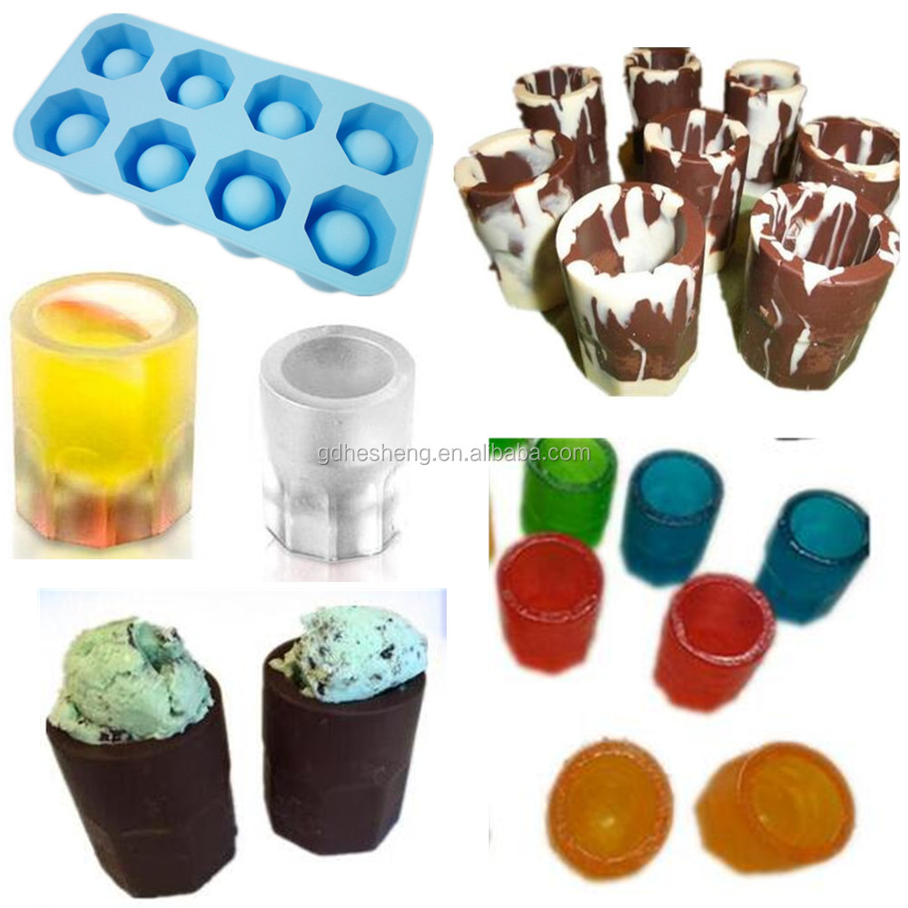 Food grade non stick silicone cool shooters ice shot glass cup mold maker