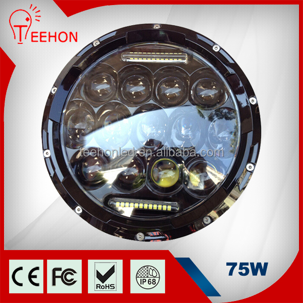 7 inch round 12v 75w led headlight bulb for motorcycle jeep offroad