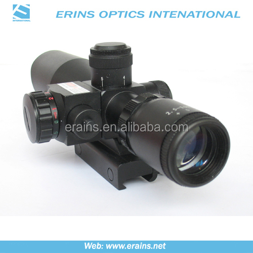 Compact 2.5-10X40 rifle scope red green Mil-Dot Reticle with side attached red laser sight scope combo