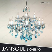 Blue color 12 bulbs czech decorative crystal chandelier
