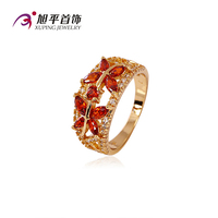 Xuping Fashion jewelry Fine Cubic Zircon Diamond Jewelry Ring with 18K Gold Plated Flower Style