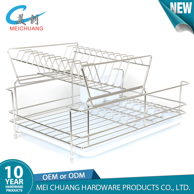 2 tier dish drainer stainless steel