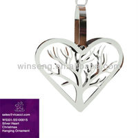 Hot Sale Silver Heart Xmas Hanging Ornament WS331-SS10001S