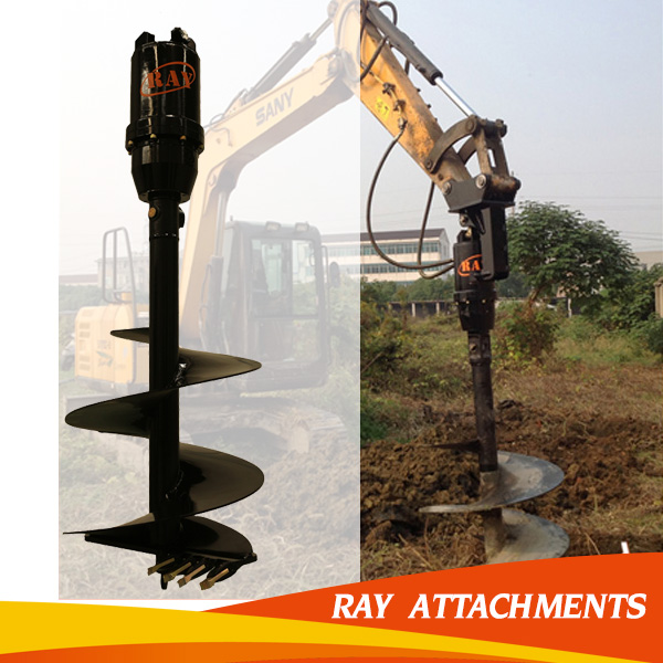 Excavator Fence Post Pole Drilling Rig Machine for Excavator used