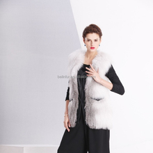 New style winter sexy leather knit natural tanned fox fur vest