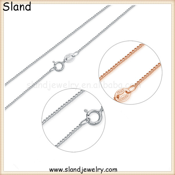 Alibaba Gold Supplier Sland factory Wholesale Different Types Sterling Silver Curb link Chain Solid 925 Italy necklace chain