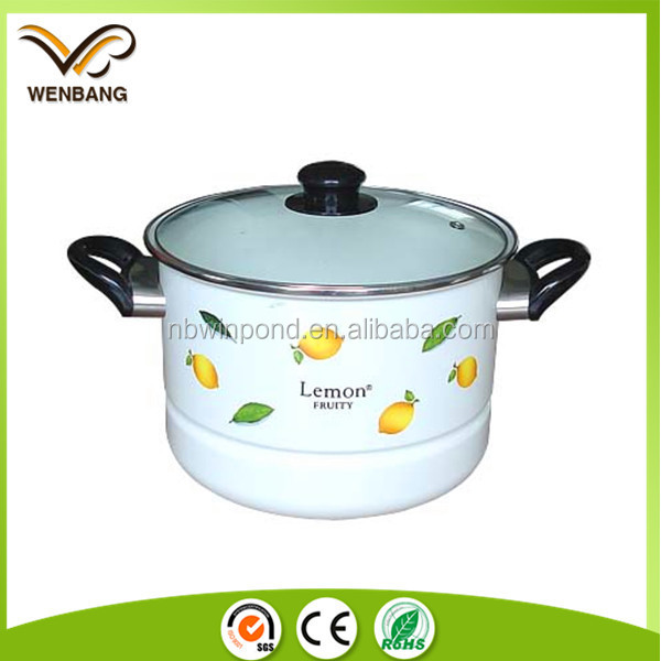 widely use good quality kitchenware with glass lid, bakelite handle enamel pot cookware