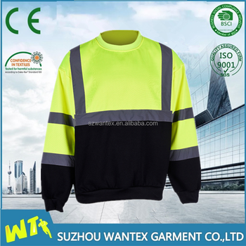 Hi vis customized cotton cheap fashion reflective safety fleece sweater