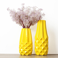 wholesale 2-pieces set yellow ceramic porcelain pineapple striae design flower vase geometric cut