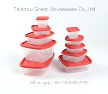 Red plastic lids food storage container