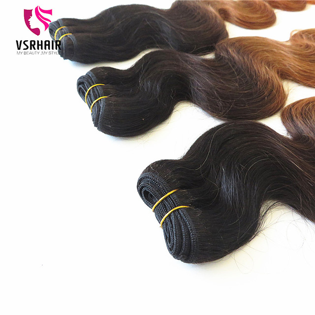 Raw unprocessed human hair 3 bundles red brazilian hair ombre weave