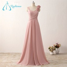 Flower Floor-Length A-Line Peach Color Bridesmaid Dress