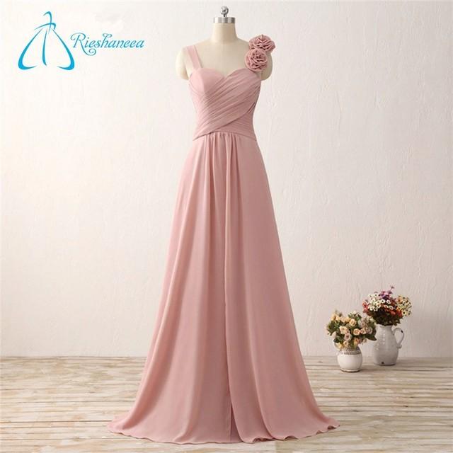 Flower Floor-Length A-Line Peach Color Bridesmaid Dress