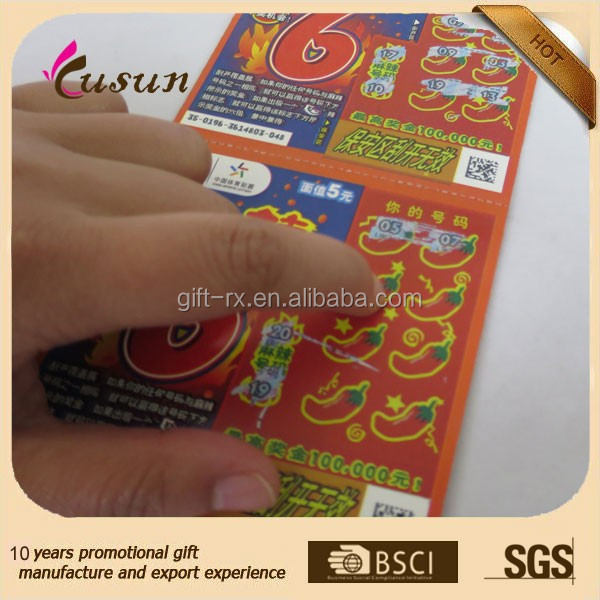High quality CR80 20mil full side 4/4 printing paper lottery tickets with pin numbers