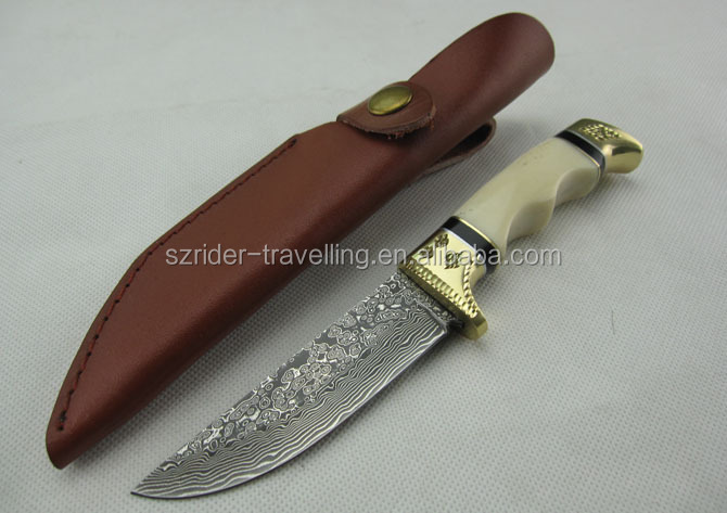 OEM carve pattern bone handle Damascus collection hunting knife