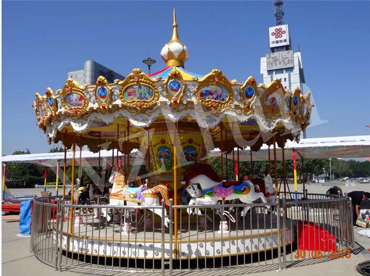 high quality amusement park ride carousel, carousel horses plastic, park attraction indoor