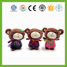 wholesale valentine soft plush happy teddy bear with love embroidrey