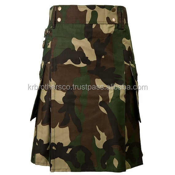 "Men Army Jungle Green Woodland Commando Camouflage Camo Utility Kilt Size 28"" to 50"""