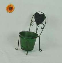 Antique green metal chair style flower pots for home decoration