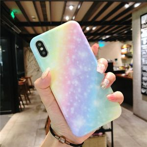 Creative rainbow colorful soft Marble IMD phone case for iphone X 8 7