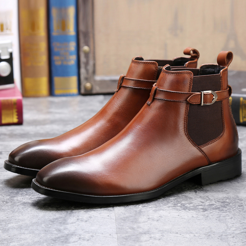 New good quality england style genuine leather buckle strap mens chelsea <strong>boots</strong>