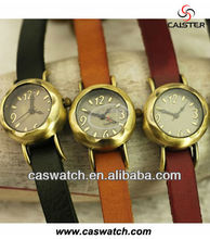 Hot sale high quality long strap genuine leather watch vintage brass watch
