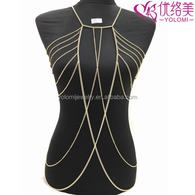 Yiwu Vibrating Body Jewellery Gold Plated Long Necklaces Non-allergenc Bikini Chain Jewelry YMBD1-322