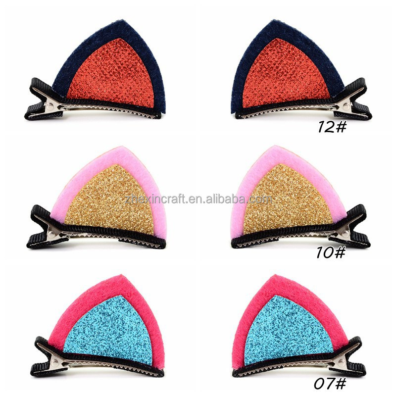 Hair clip Double Cat Ear Clip With Sequins Ears Baby Hair Clip Cute Of Fan Lovely Shape Hairpins