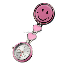 Free Shipping!! New Heart Smile Portable Nurse Watch with Safety Clip Hanging Pocket Nurse Fob Watch Relog Luminous Hands