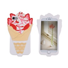 Produce Oem Bulk Silicone Rubber Material Ultra Thick Protective 3D Ice Cream Cute Cool Fun Gift Mobile Phone Case For Iphone 8