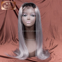 20''Indian Natural Hair Wig Glueless Full Lace Wig Grey Color Shedding Free Tangle Free