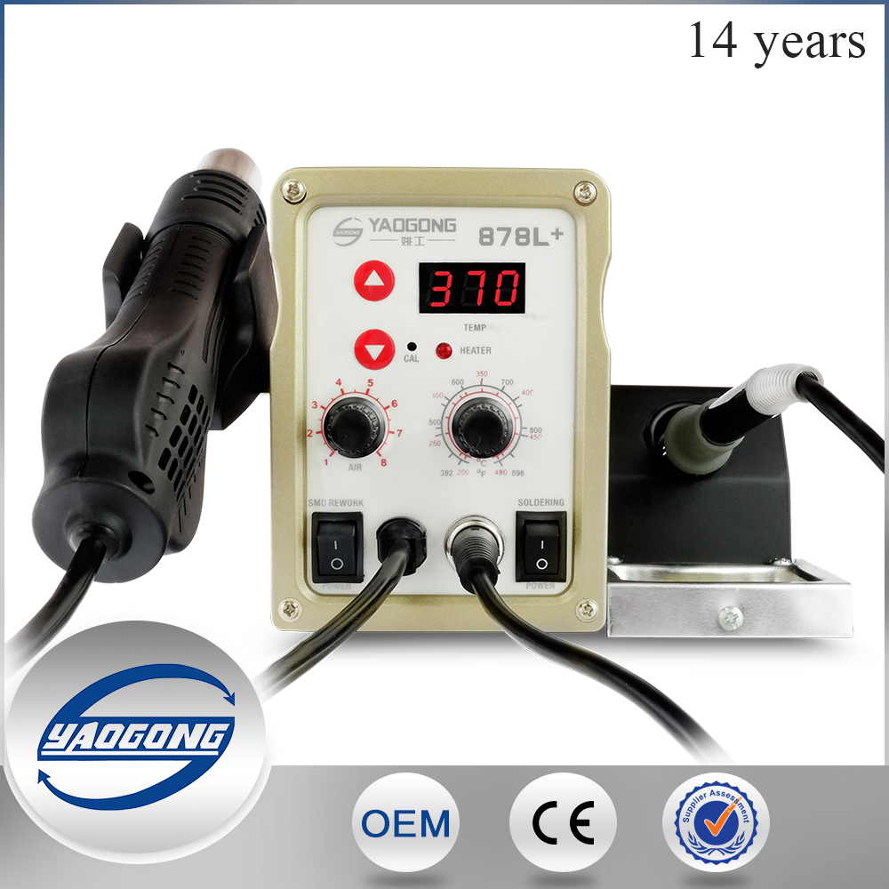 878L+ 2 in 1low price circuit board of welding machines and rwork station and electric soldering iron equipment