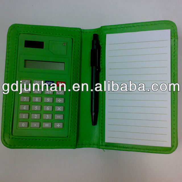 PVC embossed leather pocket notebook calculator with pen