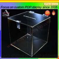 PMMA Plexiglass Factory manufacture Clear acrylic donation box with lock