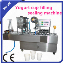 Yogurt cup filling sealing machine with film sealing